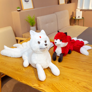 Hot Cute Soft White Red Nine Tails Fox Plush Toys Stuffed Animals Nine-Tailed Fox Kyuubi Kitsune Dolls Creative Gifts for Girls image