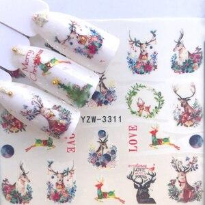 1 лист розы лаванды цветок ногтей переводные наклейки воды Полный Обертывания Рождественские серии дизайн DIY украшения ногтей наклейка подарок