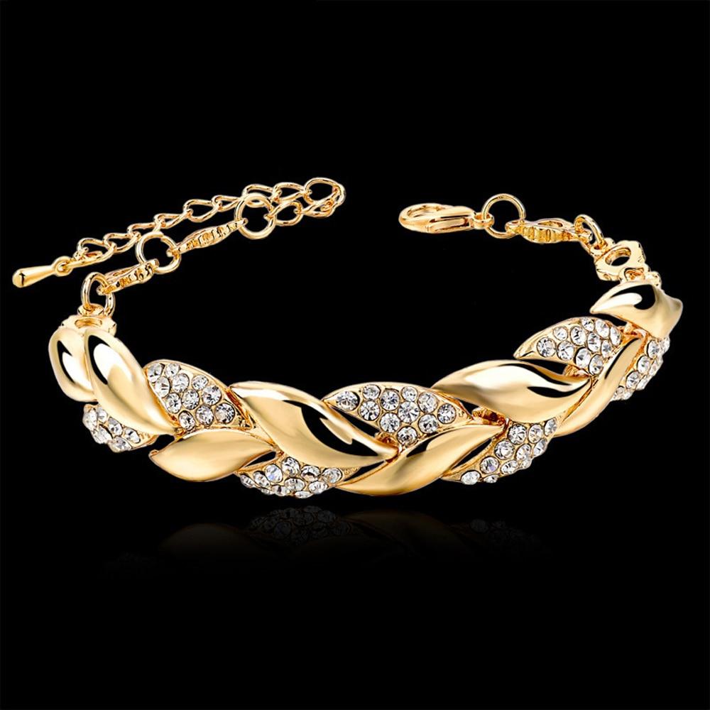 Bohemian Style Women Girls Gold Bracelet  Rhinestone Leaves Chain Bangle Luxury Wedding Jewelry Simple Fashion Elegant New|Chain & Link Bracelets|   - AliExpress