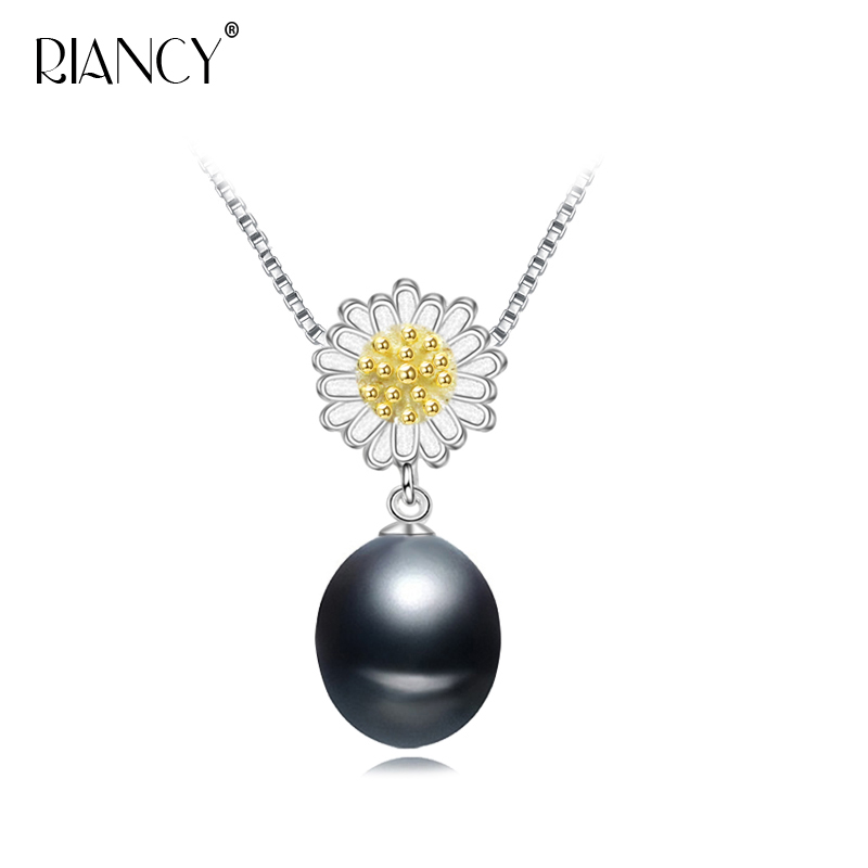 Fashion Natural Freshwater 8-9mm black pearl pendant for women Wedding Jewelry classic Simple Pearl
