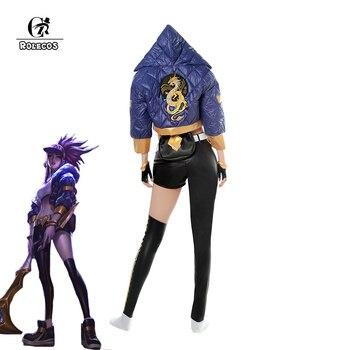 ROLECOS Game LOL K/DA Akali Cosplay Costume LOL KDA Akali Cosplay Costume Winter Uniform Costume for Women Full Set