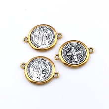 3pcs  Catholic Saint St Benedict Cross Alloy connector gold and silver necklace DIY Jewelry 34.2x25.8mm F-63