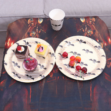 Tableware Dinner-Supplies for Party Carnival Paper-Plates Bat-Pattern Round Disposable