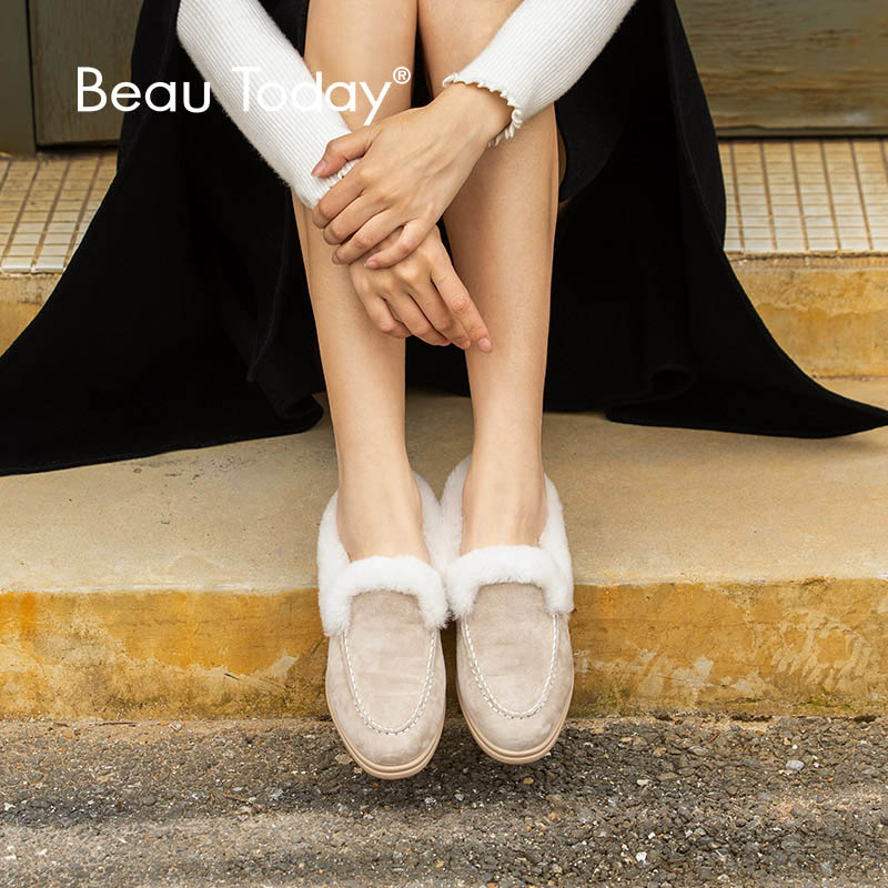 BeauToday Loafers Women Kid Suede Genuine Leather Round Toe Slip-On Lady Winter Warm Short Plush Shoes Handmade 27820