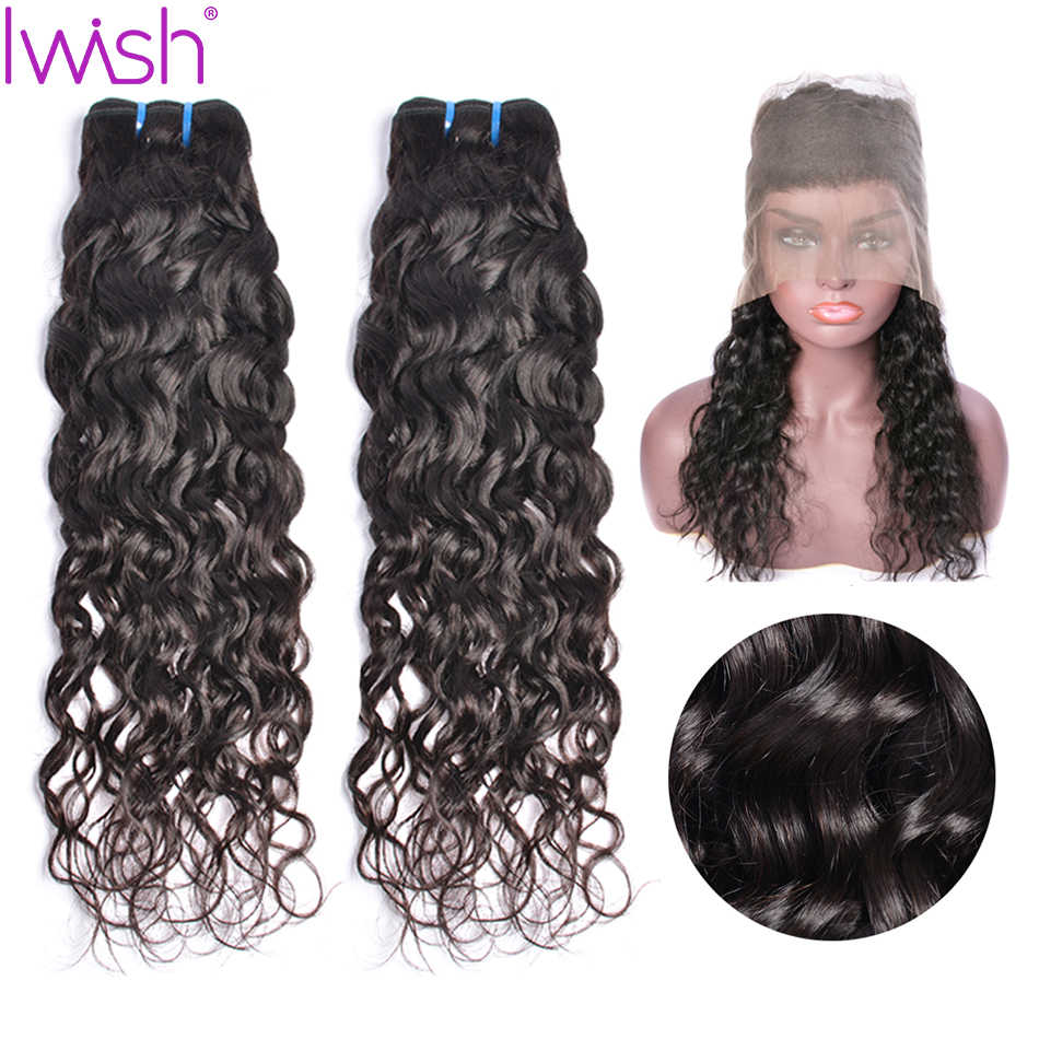 Water Wave Bundles With Frontal Human Hair 360 Lace 6A Frontal With Bundle 2 3 Brazilian Hair  With Closure Remy Hair Iwish