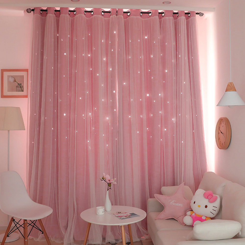 1x2m Window Tulle curtains for living room bedroom Blackout curtains Hollow curtain Nordic star ins princess wind curtain Pink 1