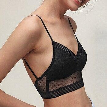 Bra Top Sexy Bralette bra Low Back Lace dot mesh Ultra Thin Ladies Underwear Women White Lingerie Femme