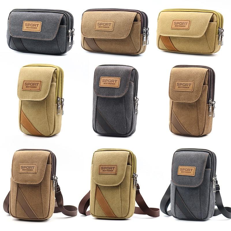 Universal Canvas Mobile Phone Bag For Samsung S20 Wallet Case Belt bag CellPhone Pouch Pocket Handbag Waist Bag for iPhone 12 11