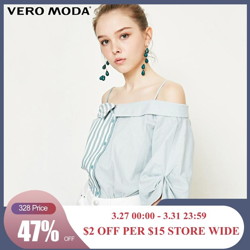 Vero Moda New Women's Stripe Splice Turn-down Collar 3/4 Sleeves Blouse Shirt | 318331549