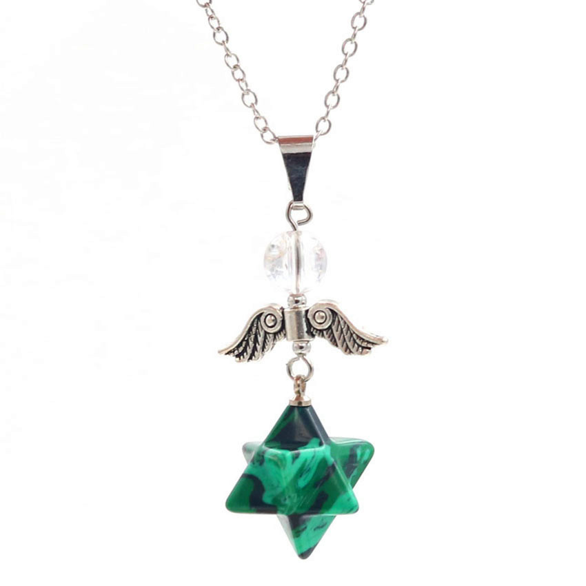 FYJS Unique Silver Plated Angel Wing Merkaba Star Pendant Spiritual Necklace Malachite Stone Jewelry in Pendant Necklaces from Jewelry Accessories