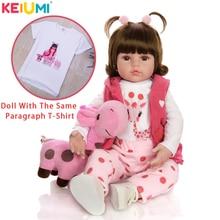 KEIUMI Baby Reborn Real Menina Soft Silicone Reborn Baby Dolls Birthday Gifts Fashion Stuffed Doll Toys With Giraffe Playmate