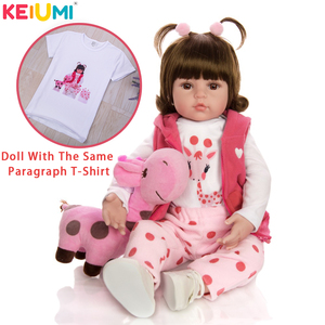 KEIUMI Baby Reborn Real Menina Soft Silicone Reborn Baby Dolls Birthday Gifts Fashion Stuffed Doll Toys With Giraffe Playmate(China)