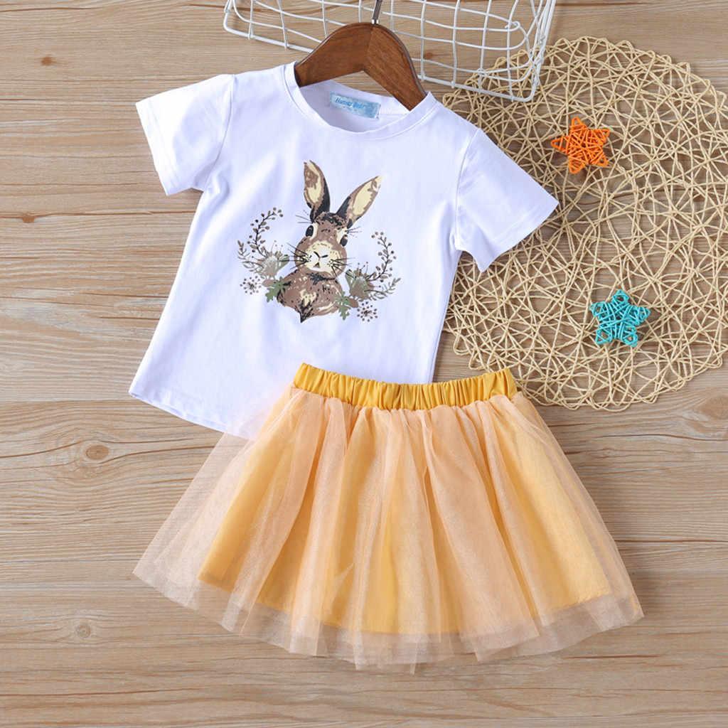 2019 New Child Kids Baby Girl Outfits Clothes Cartoon Rabbit T-Shirt Tops+Dot Skirt Set