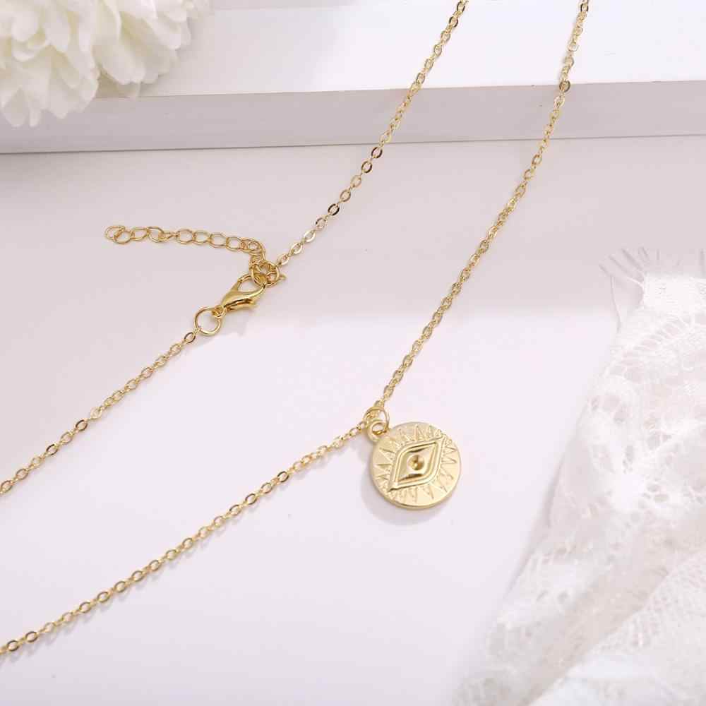 Gold Farbe Münze Auge Anhänger Halsketten für Frauen Einfache Runde Disc Layered Halsreif Boho Charms Initial Halsketten Schmuck