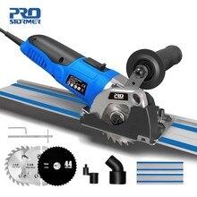 PROSTORMER-minisierra Circular de 120V/220V, guía eléctrica de 500W, 3 hojas, herramientas eléctricas de bricolaje, regla guía de corte de madera fija