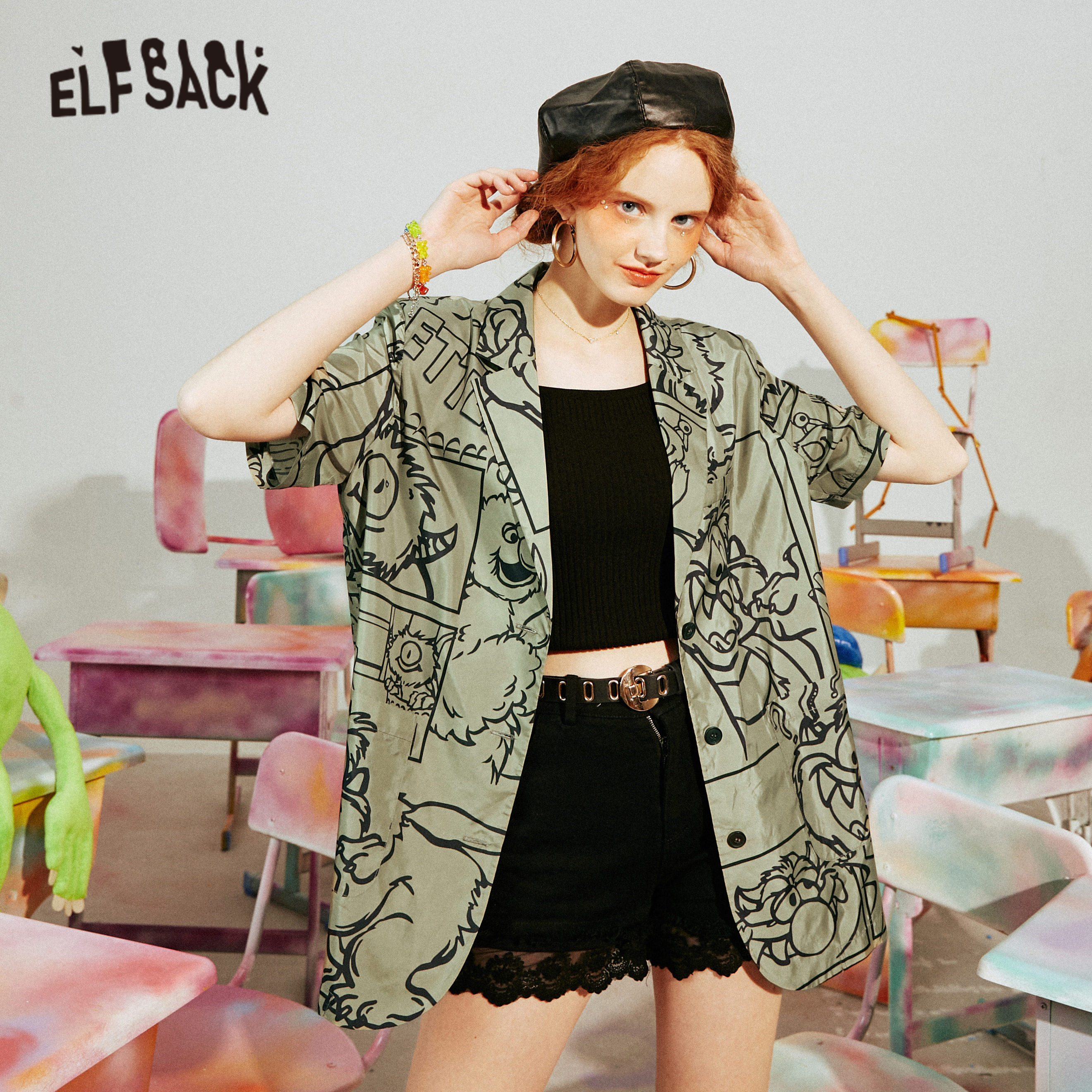 ELFSACK Green Monster Print Single Breasted Korean Women Blazer Jacket 2020 ELF Summer Short Sleeve Causal Ladies Korean Outwear