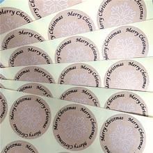 100 шт./лот каваи Винтаж Снежинка Счастливого Рождества круглый крафт Печать стикер для продуктов ручной работы этикетки
