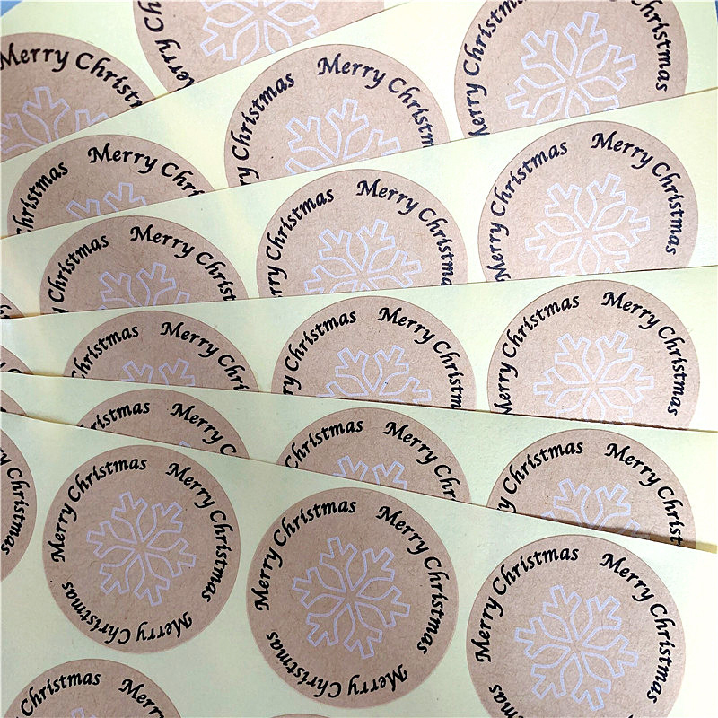 100PCS/lot Kawaii Vintage Snowflake Merry Christmas Round Kraft Seal sticker For handmade products Label