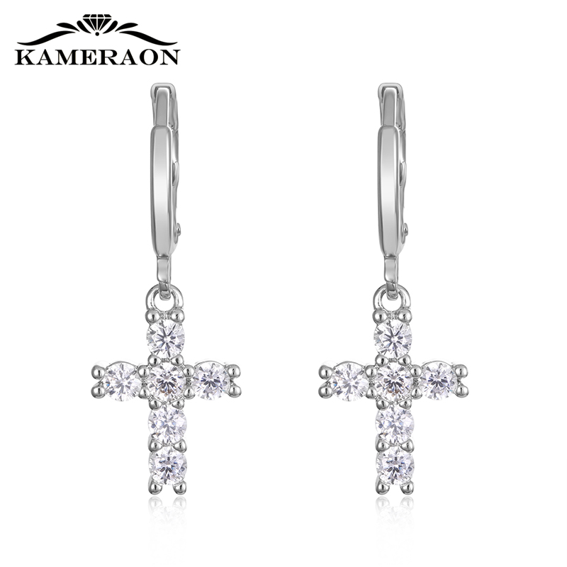 Kameraon Trendy Crystal Crosses Earrings Drop Bright korean Style 925 Sterling Silver Jewelry Cubic zirconia Catkin With Stones