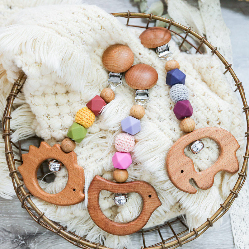 1pc Baby Teether Wooden Pram Clip Baby Mobile Pram Silicone Bead Pacifier Chain Chewable Silicone Rattle Play Gym Music Baby Toy