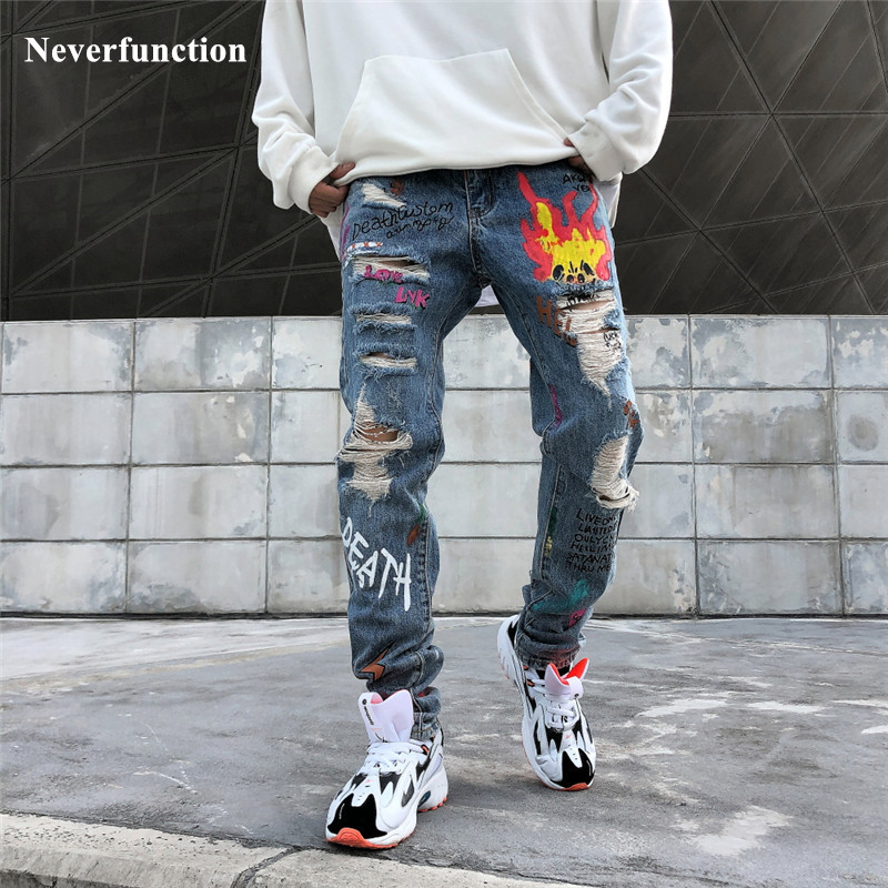 Men Streetwear Graffiti Printed Ripped Beggar Skinny Jeans Hipster Hip Hop Distressed Knee Holes Joggers Jeans Denim Trousers