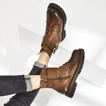 Martin Boots Female 2019 Autumn and Winter New First Layer Leather Shoes Sleek Minimalist Square Root Shoes