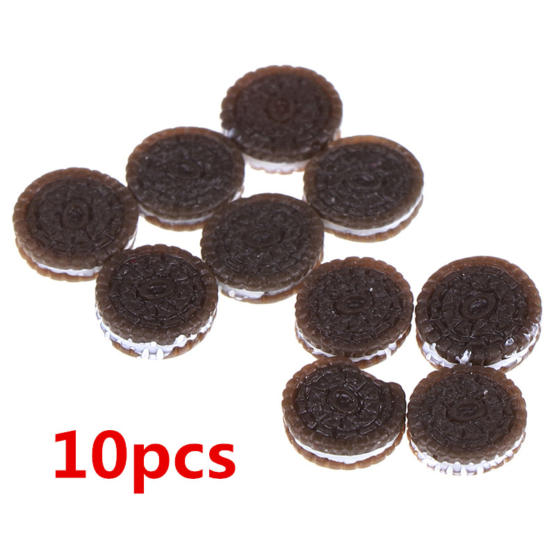 10pcs/lot 1:12 Kawaii Chocolate Cookies Miniature Dollhouse Kitchen Decoration Bakery Mini Food Pretend Play Toys