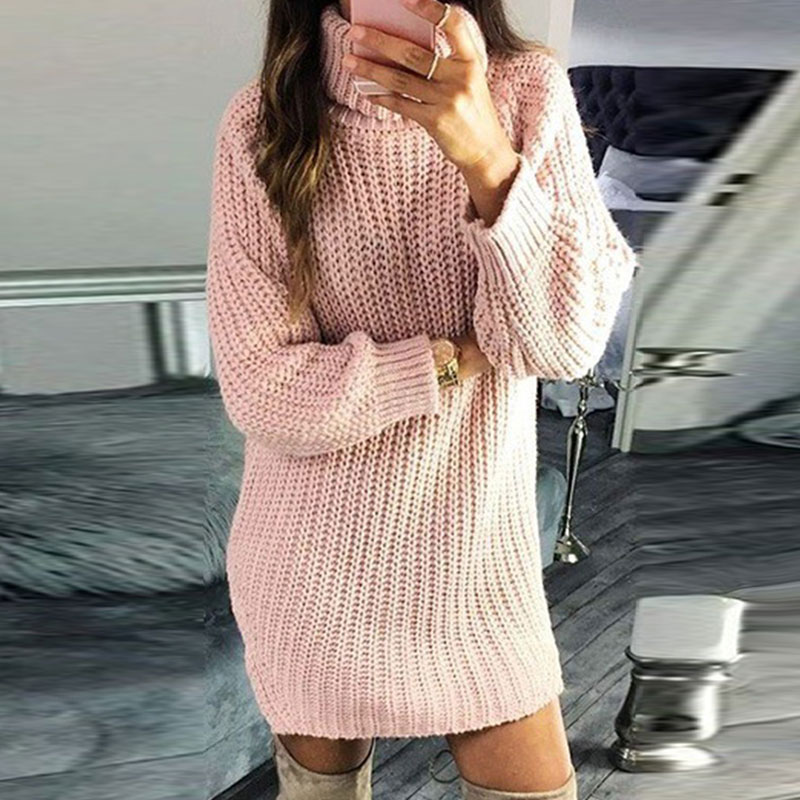 Laamei Autumn Sweater Women Pullover Turtleneck Solid Color Sweater Slim Fashion Knitted Sweater Winter Women Long Sweaters