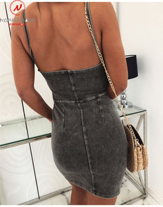 Image 3 - Sexy Women Denim Dress for Streetwear Patchwork Design Sling Sleeveless Backless Solid Lady Summer Bodycon Strapless Mini Dress