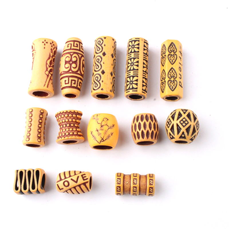 10pcs Plastic Imitation Wood Hair Braid Dread Dreadlock Beard Beads Rings Tube Appro 8mm Inner Hole Jewelry 13 Style