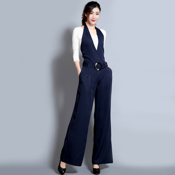 цена на Summer Women Jumpsuit casual trousers black slim jumpsuit wide leg pants hanging neck overalls jumpsuit women Casual bodysuit