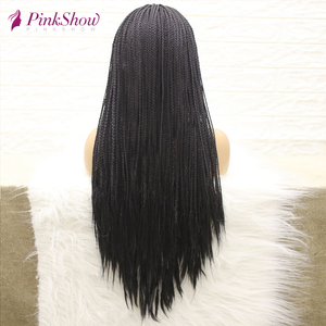 Image 2 - PINKSHOW Black Braided Wigs For Black Women Long Synthetic Lace Front Wig Heat Resistant Fiber Natural Braids Wig With Baby Hair