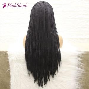 Image 2 - PINKSHOW pelucas trenzadas negras para mujeres negras, sintético largo peluca con malla frontal, fibra resistente al calor, peluca con trenzas naturales con pelo de bebé