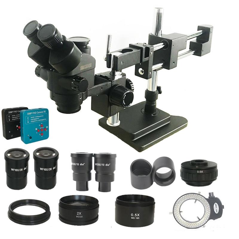 New Model 3.5X-180X Double Boom Trinocular Stereo Microscope Industrial Soldering 38MP HDMI USB Microscopio Camera Phone Kits