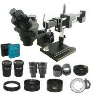 New Model 3.5X 180X Double Boom trinocular stereo Microscope Industrial Soldering 38MP HDMI USB microscopio camera phone kits