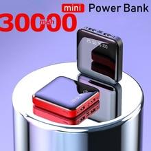 Banco de energía de 30000mAh para teléfono inteligente, Mini banco de energía portátil, cargador portátil, puertos Usb, batería externa duales