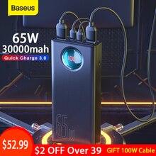 Baseus bateria externa portátil 30000mah 65w, carregamento rápido pd3.0 3.0 fcp scp, bateria de viagem para telefone tablet para laptop