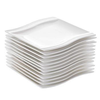 MALACASA flory 12-sztuka 5 5 #8222 ceramiczna biel porcelany prostokąt płytki talerz talerzyk deserowy naczynia stołowe (14*14 5*2cm) tanie i dobre opinie CN (pochodzenie) Plac Stałe FLORA-12SP001