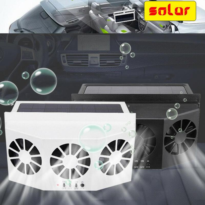 2x Car Windshield Solar Power Exhaust Fan Cooler Vent Cooling Radiator System US