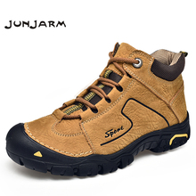 JUNJARM Genuine Leather Men Boots Handmade Top Quality Platform Snow Outdoor Autumn Winter Footwear 38-46