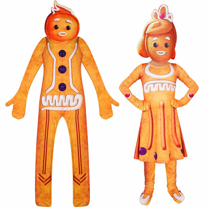 2019 Christmas Cosplay Costumes Gingerbread Man Jumpsuit For Kid/'s Party Costume