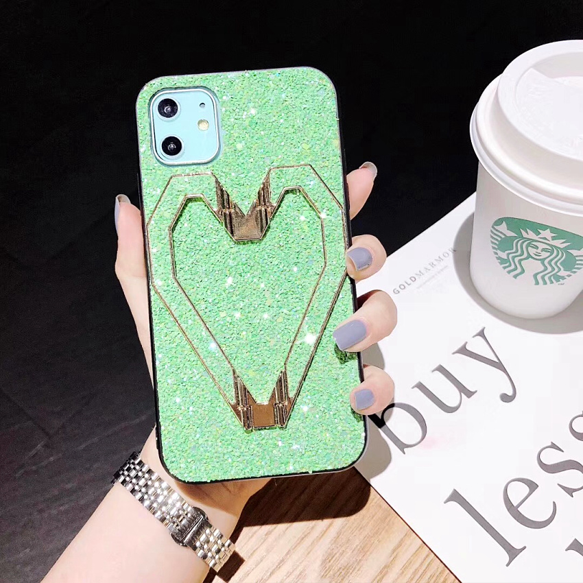 3D Fashion Love Metal Stand Cases For iPhone 11 Pro 11 Pro Max X XR XS MAX 8 7 Plus Luxury Glitter Bling Leather Phone Case Capa (4)