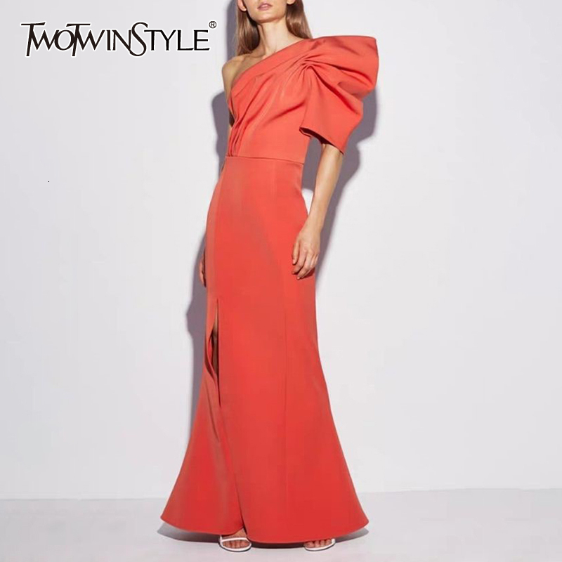 TWOTWINSTYLE Sexy Ruched Dress Female Asymmetrical Collar Puff Sleeve High Waist Side Split Dresses For Women Fashion 2020 Tide