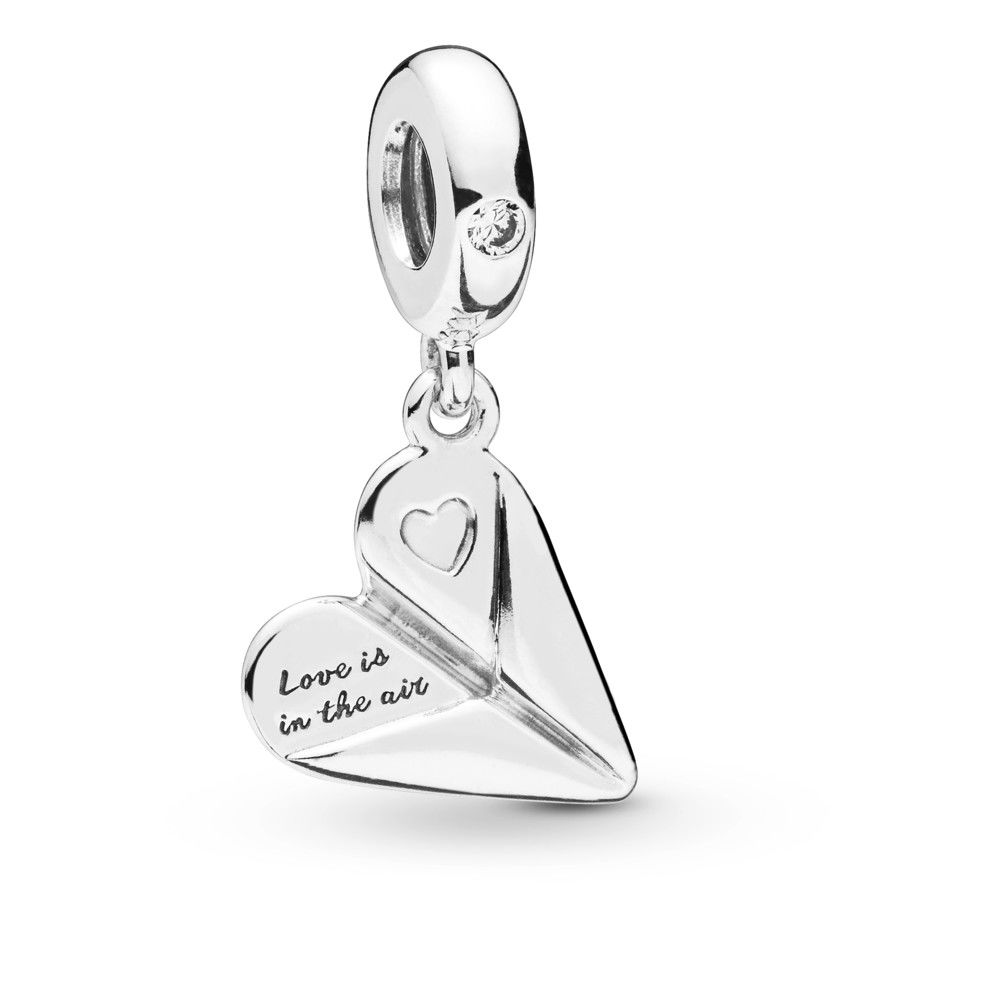 2020 NEW Real 925 Sterling Silver Love Paper Airplane Dangle Charm Fit pandora Bracelet Necklace Pendant Charm DIY Jewelry
