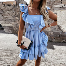 Women Casual Cotton Linen Solid Dress Elegant Chic Halter Ruffle Party Dresses Summer Sexy Sleeveless Back Bandage Beach Dress
