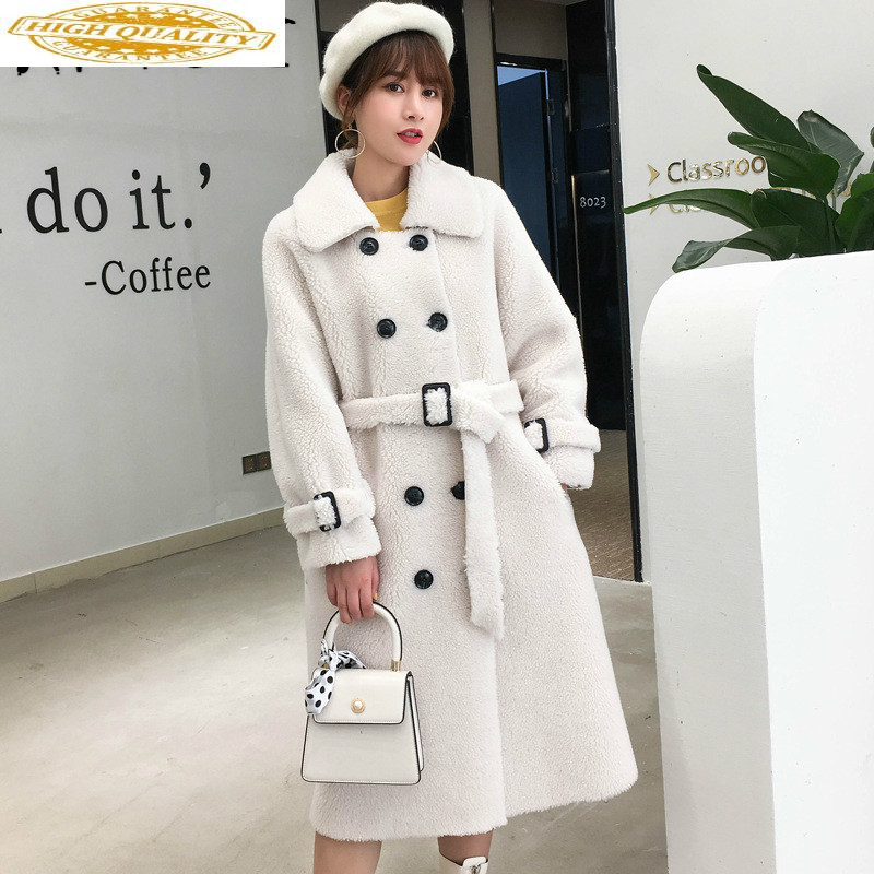 Sheep Shearing Real Fur Coat Women 100% Wool Jacket Women Clothes 2019 Winter Coat Women Korean Long Fur Tops 19330 YY1881