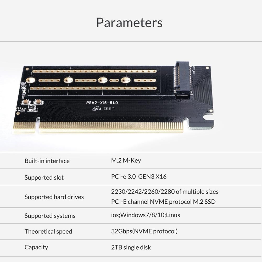 ORICO PCI-E Express M.2 M-key Interface SSD M.2 NVME to PCI-E 3.0 X16 Gen3 Convert Card Support 2230 2242 2260 2280 SSD Adapter 6
