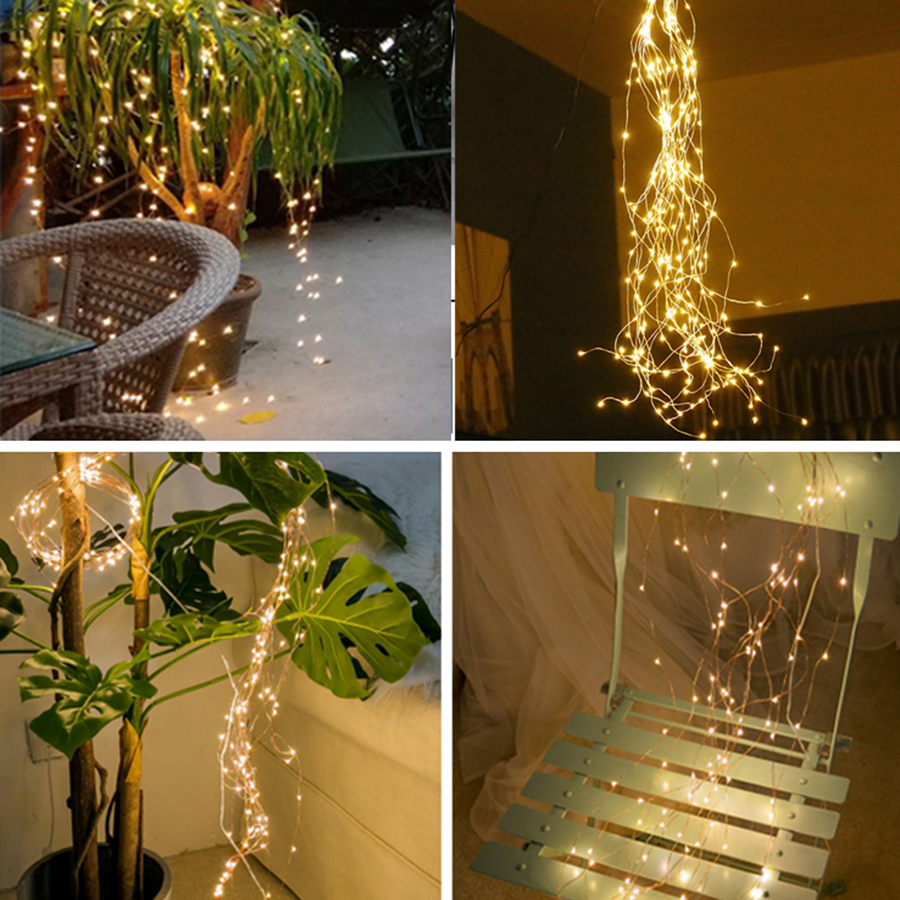 Image 5 - Thrisdar 200/600 LED Copper Wire String Light Tree vine Branch Light Outdoor Garden Fence Shop Holiday Waterfall Garland light-in LED String from Lights & Lighting on