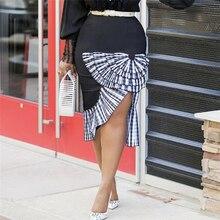 Women Bodycon Skirt High Waist Patchwork Vintage Plaid Slim Package Hip Tight Classy Saias Jupe Falad Elegant Office Work Wear