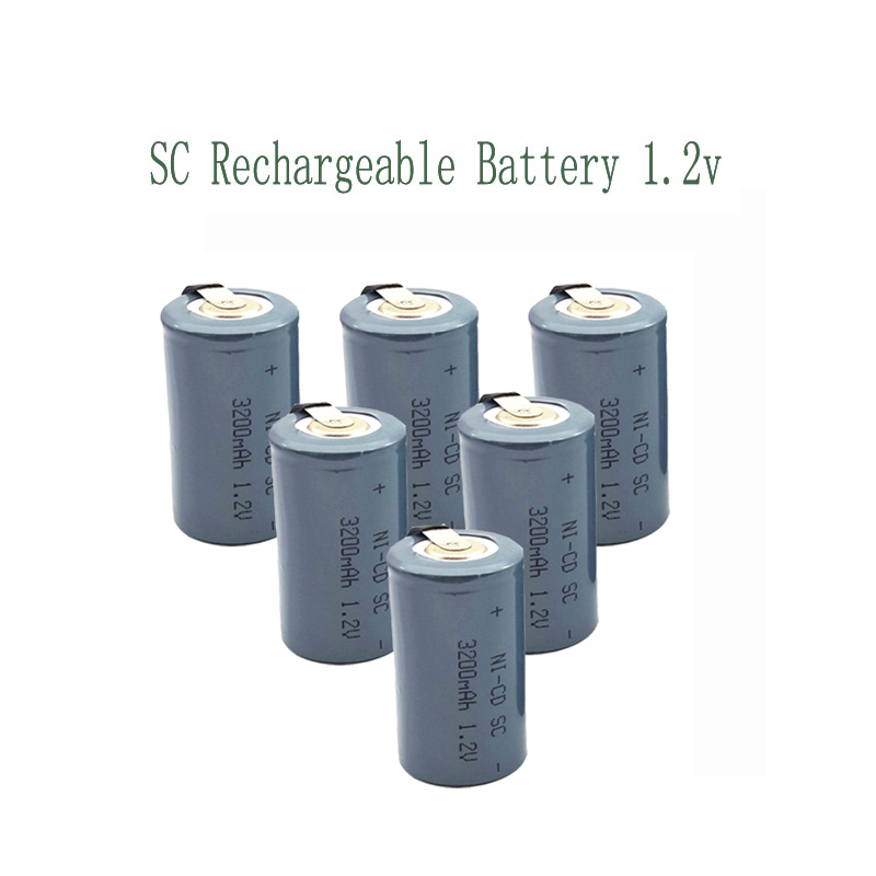 15pcs SC 3200MAH 1.2V Rechargeable Battery 4/5 SC Sub C Ni-cd Cell With Welding Tabs For Electric Drill Screwdriver 3200